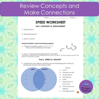 Speed Worksheet-Concepts and Calculations