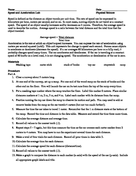 Speed and Acceleration Lab Worksheet