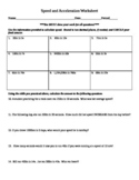 Speed and Acceleration Practice Worksheet
