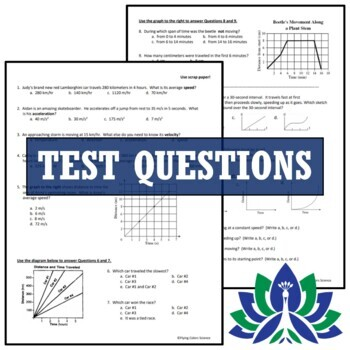 Speed and Speed Graphs Motion Test Assessment NGSS  MS-PS3-1