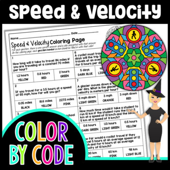 Speed and Velocity Color By Number | Science Color By Number