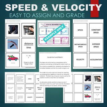 Speed and Velocity (Constant, Average, Acceleration, etc) Sort & Match Activity