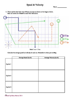 Speed and Velocity Worksheet