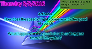 Speed of Electromagnetic Waves Practice Worksheet and PowerPoint