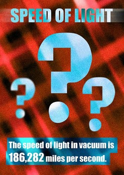 Speed of Light in miles ( A4  poster in 3 colors )