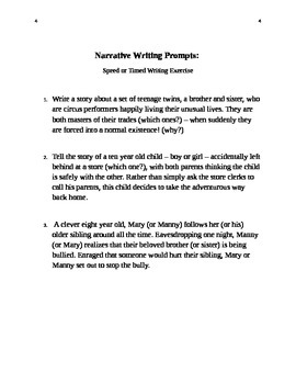 Speed or Timed Narrative Writing instructions, rubric, and prompts