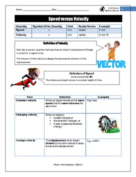 Speed vs. Velocity Student and Teacher handout