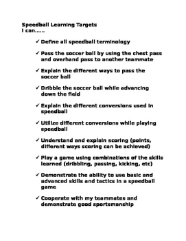 Speedball Learning Targets