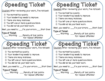 Speeding Ticket Classroom Management Tool for Careless Work