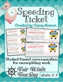 Speeding Ticket -  Completing work
