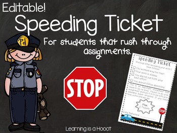 Speeding Ticket (Editable and Non-Editable)