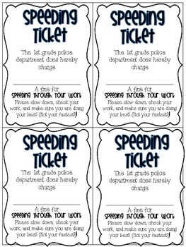 Speeding Ticket {For students who like to rush!}