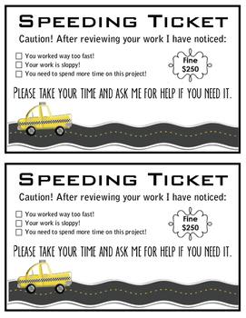 Speeding Ticket, Work Too Fast