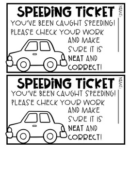 Speeding Tickets ***FREEBIE***