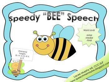 "Speedy ""BEE"" Speech - Articulation Activity"