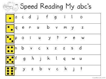 Speed Reading My ABC's Center with Dice Great for Kindergarten Reading Station