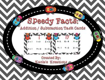 Speedy Facts Task Cards: Addition and Subtraction