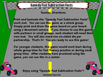 Subtraction Facts Within 10 Game