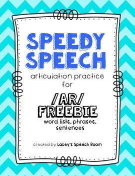 Speedy Speech /AR/ Articulation FREEBIE