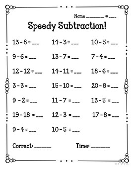 Speedy Subtraction Fact Fluency Quizzes