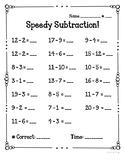 Speedy Subtraction Fact Fluency Quizzes