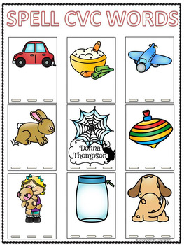 Cvc Word Bank Quot Spelling Quot Worksheets By Donna Thompson Tpt