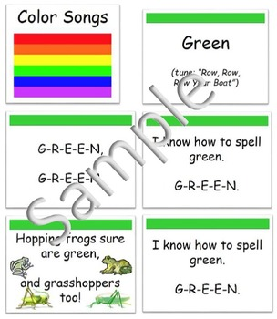 Spell Color Words- Sing Color Word Songs (Piggyback) & Display Lyrics