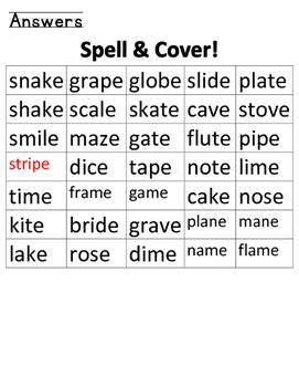Spell & Cover (silent e)