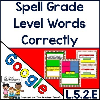 Fifth Grade Spelling | Google Classroom Activities | L.5.2.E