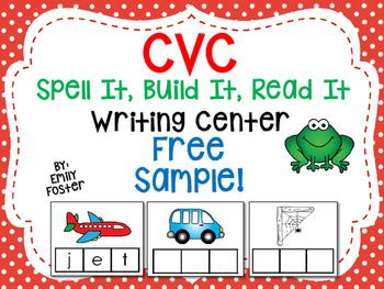 CVC Spell It, Build It, Read It Writing Center - FREE SAMPLE!