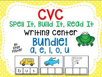 CVC Spell It, Build It, Read It Writing Center- BUNDLE!