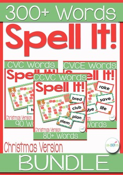 CVC, CCVC, CVCe Word Families Game Christmas Themed