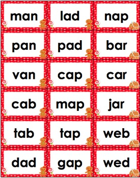 CVC Word Families Board Game Christmas Themed