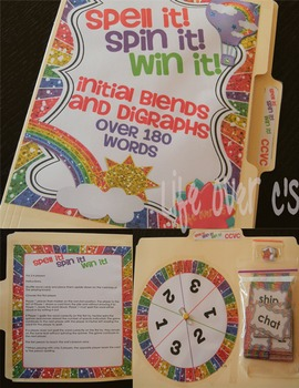 Initial Blends Board Game Rainbow Themed CCVC/CCCVC
