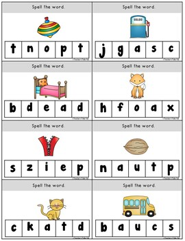 Spell It and Clip It Task Cards and Worksheets