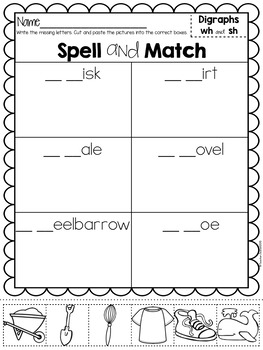 Digraphs Spelling Cut and Paste Activities