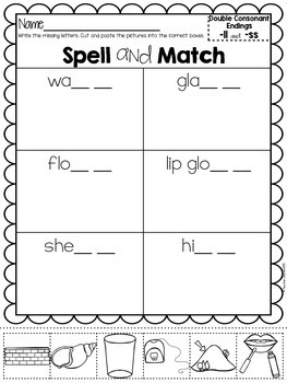 Double Consonant Endings Spell and Match
