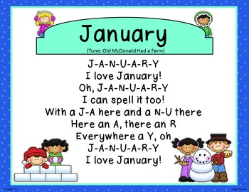 Spell the Months of the Year Songs! (No audio files, just lyrics & cute signs)