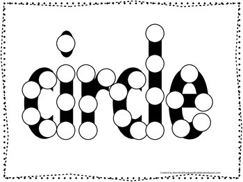 Spell the Shape Circle Do a Dot worksheet for preschool, daycare, child care.