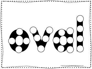 Spell the Shape Oval Do a Dot worksheet for preschool, daycare, child care.