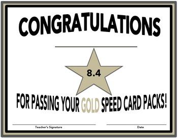 SpellREAD Gold Certificates for Speed Card Packs