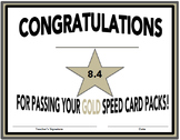 SpellREAD Gold Certificates for Speed Card Packs