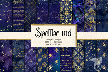 Spellbound seamless digital paper fantasy backgrounds, textures and patterns
