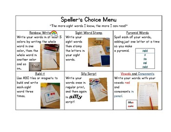 Speller's Choice Menu Bundle-6 Choices to practice 1st Grade Nat Geo Sight Words