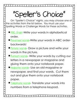 Speller's Choice Homework