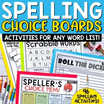 Speller's Choice Menus & Spelling Activity Pages to Last t