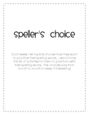 Speller's Choice - Monthly Spelling Activities
