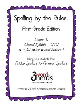 Spelling - The letter  a  After  w  & Before  l - First Grade