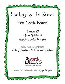 Spelling - Open Syllable and Magic e Syllable a-e - First Grade