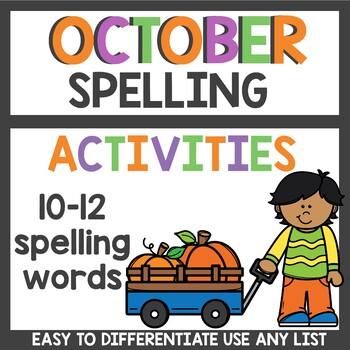 October Spelling Homework and activities